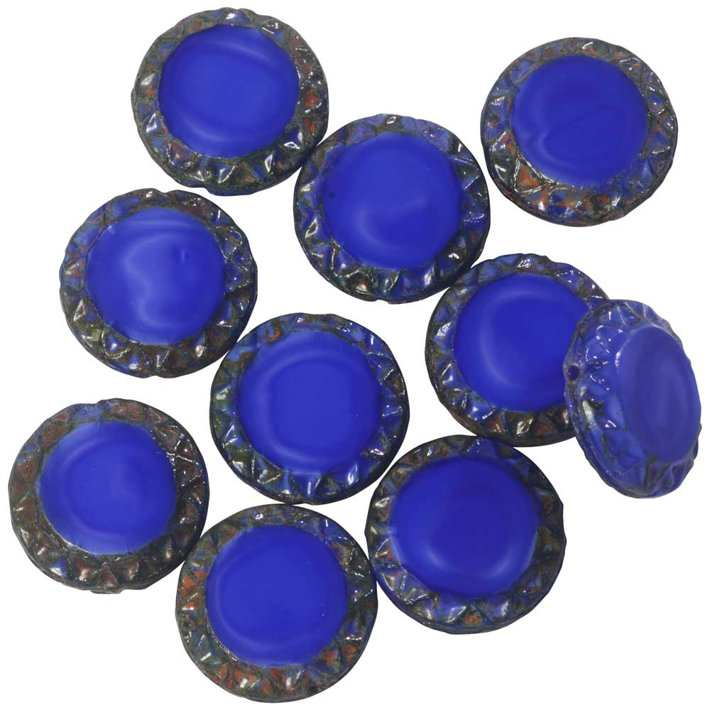 Czech Glass Beads, Mayan Sun Coin 15mm, Royal Blue Silk, Picasso Finish, 1 Str, by Raven's Journey