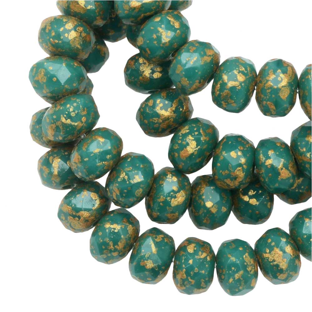 Czech Glass Beads, Faceted Rondelle 3x5mm, Green Turquoise Opaque, Ant Gold, 1 Str, by Raven's Journey