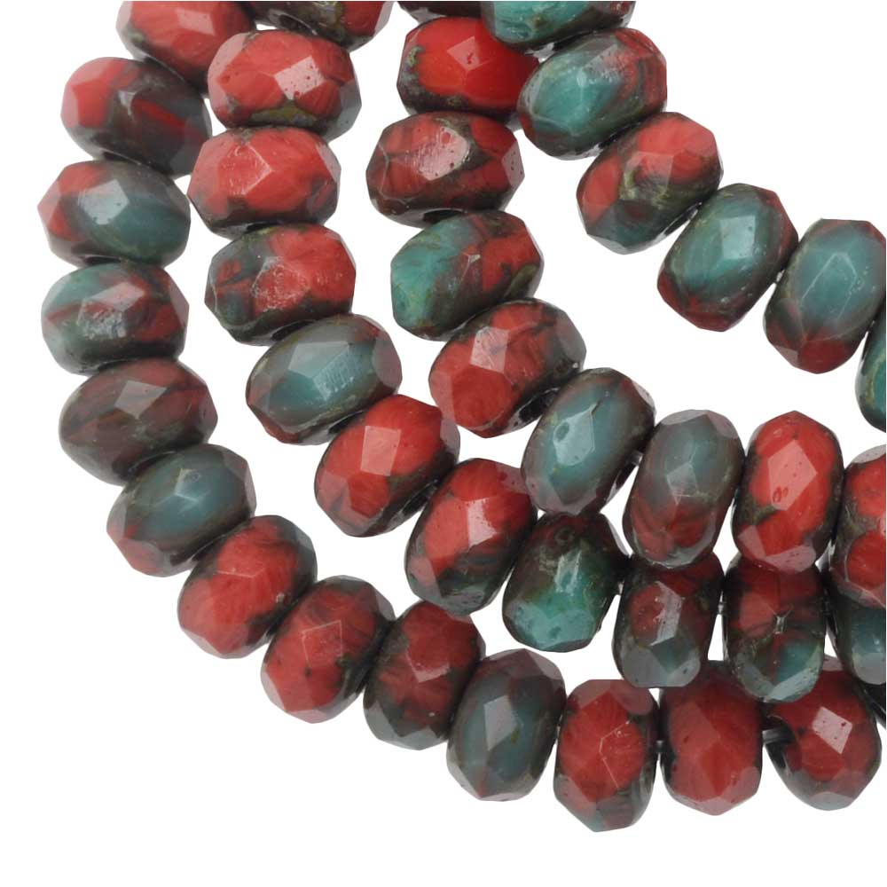Czech Glass Beads, Faceted Rondelle 3x5mm, Red & Turquoise Mix, Picasso, 1 Str, by Raven's Journey