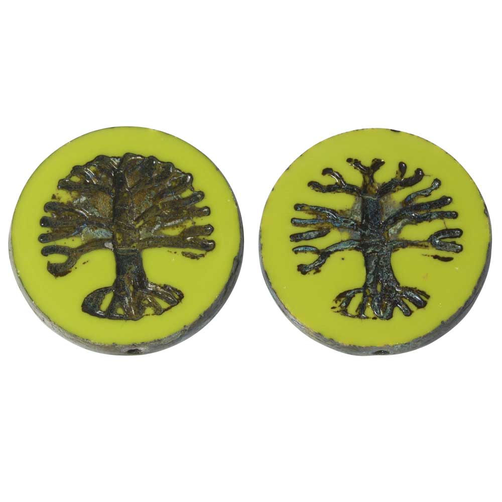 Czech Glass Beads, Tree of Life Coin 21.5mm, Gaspeite Green Opaque,Picasso, 2 Pc, by Raven's Journey