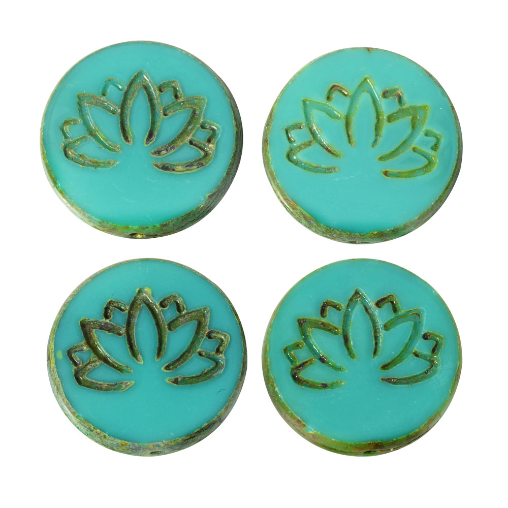 Czech Glass Beads, Lotus Flower Coin 18mm, Turquoise Opaque, Picasso Finish, 4 Pieces, by Raven's Journey