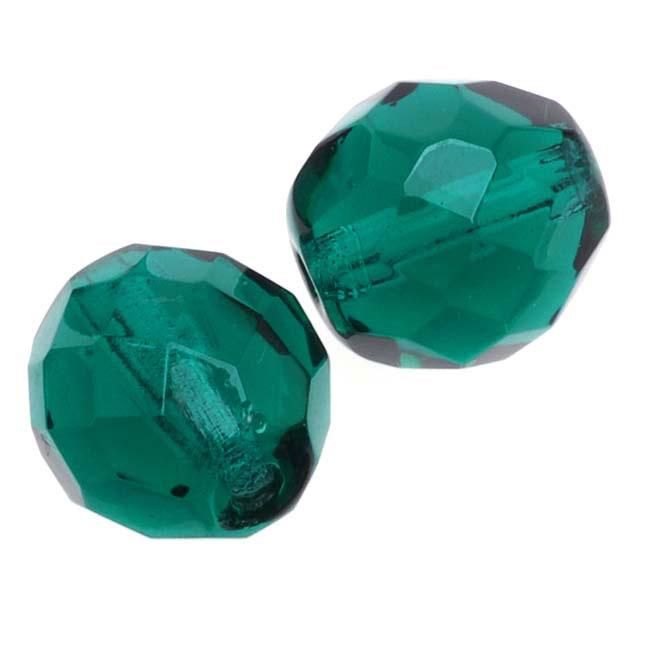 Czech Fire Polished Glass Beads 10mm Round Emerald (12)