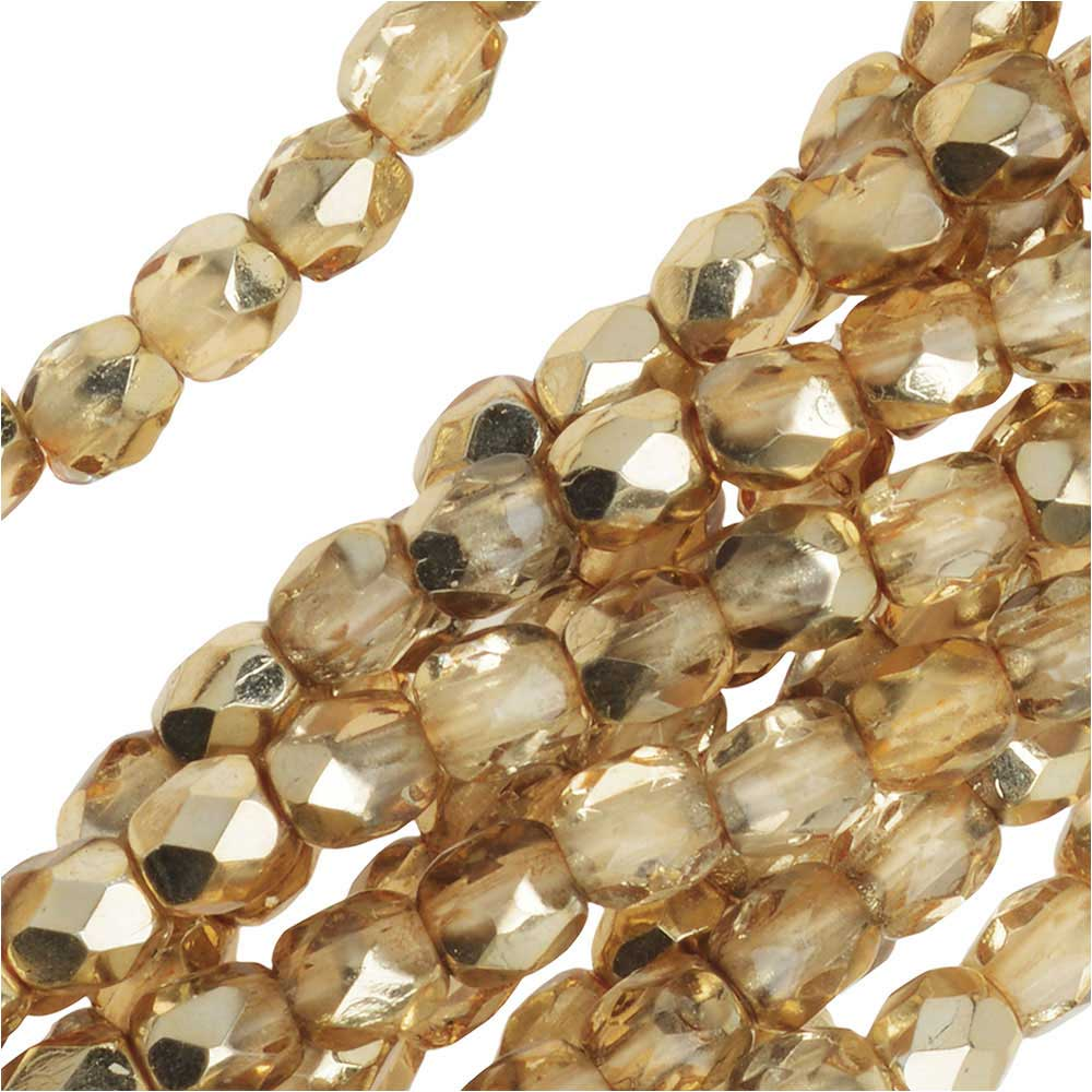 Czech Fire Polished Glass Beads 3mm Round Crystal Gold (50)