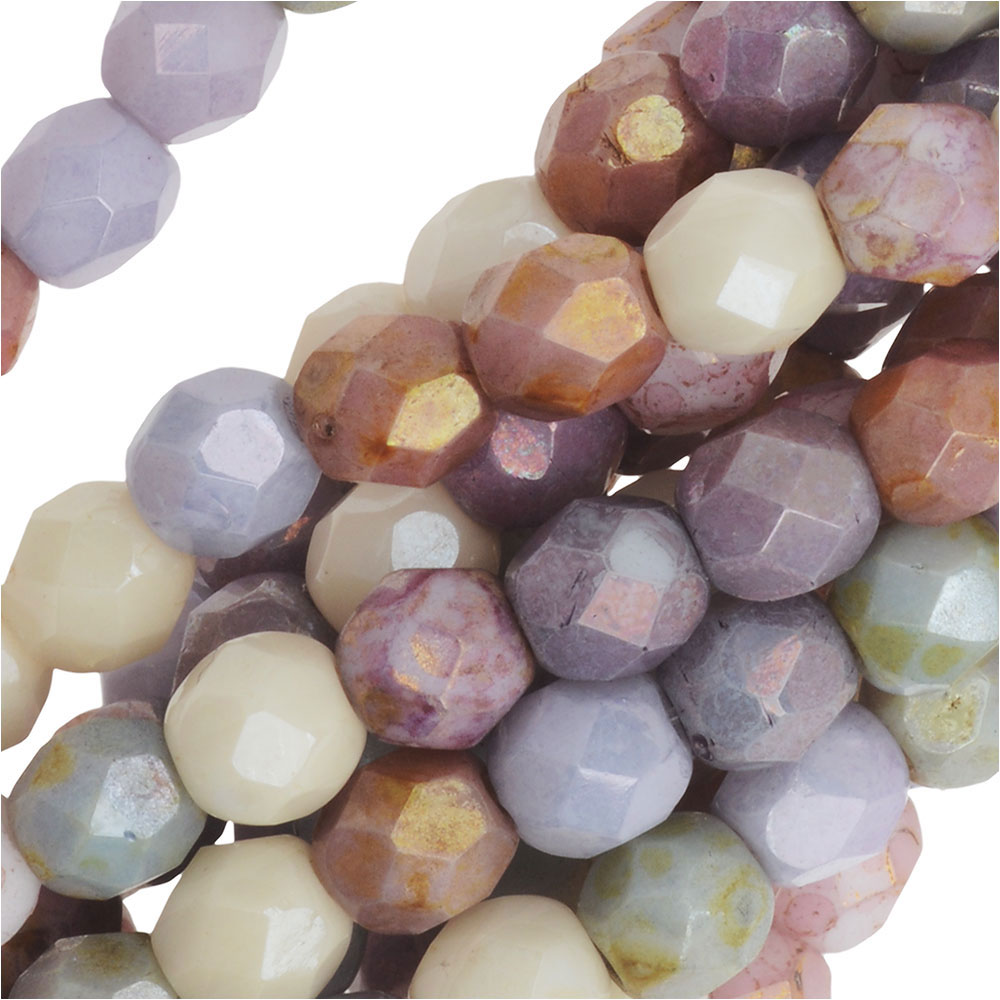 Czech Fire Polished Glass, 4mm Faceted Round Beads, 50 Piece Strand, Opaque Luster Mix