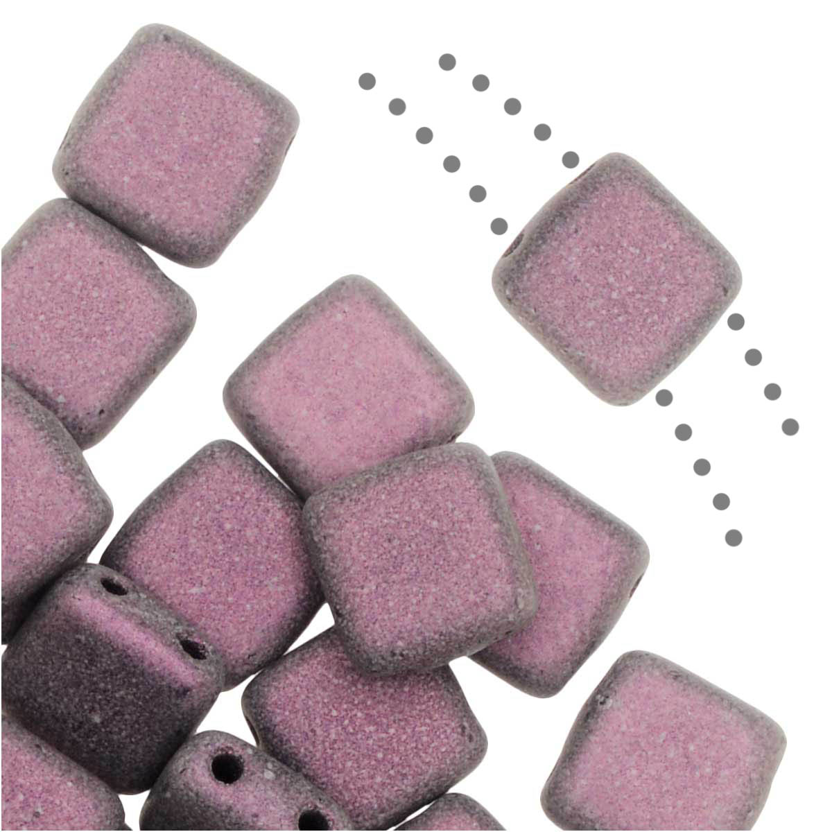 CzechMates Glass, 2-Hole Square Tile Beads 6mm, 1 Strand, Metallic Pink Suede