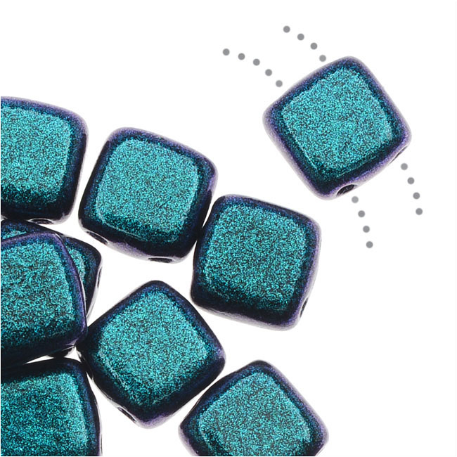 CzechMates Glass, 2-Hole Square Tile Beads 6mm, 1 Strand, Indigo Orchid Polychrome