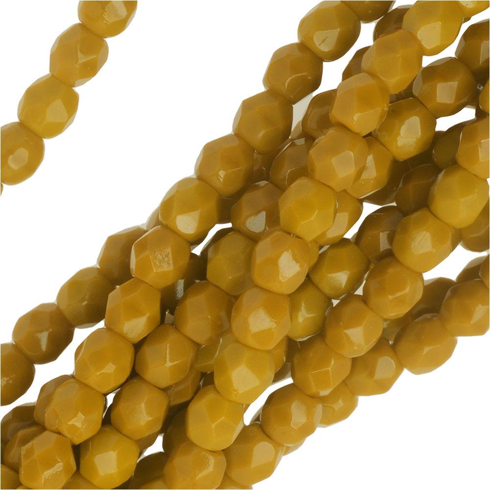 Czech Fire Polished Glass Beads 3mm Round Mustard Yellow (50)