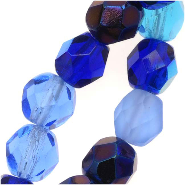Czech Fire Polished Glass Beads 6mm Round Blue Tones (50)