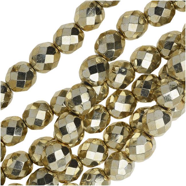 Czech Fire Polished Glass Beads 8mm Round 'Aurum Gold' (25)