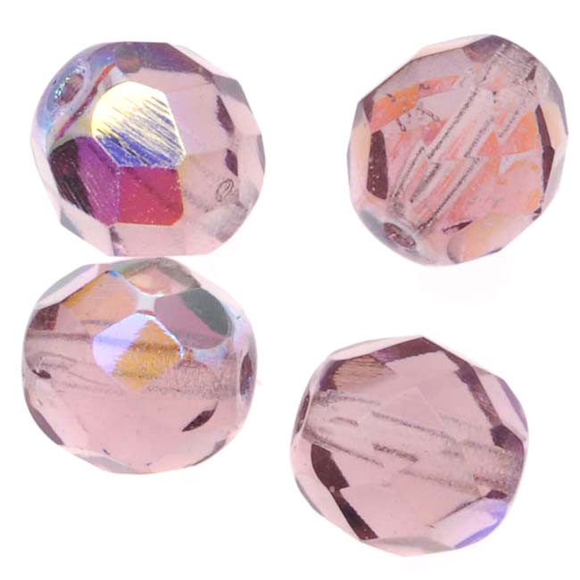 Czech Fire Polished Glass Beads 8mm Round 'Lt Amethyst AB' (25)