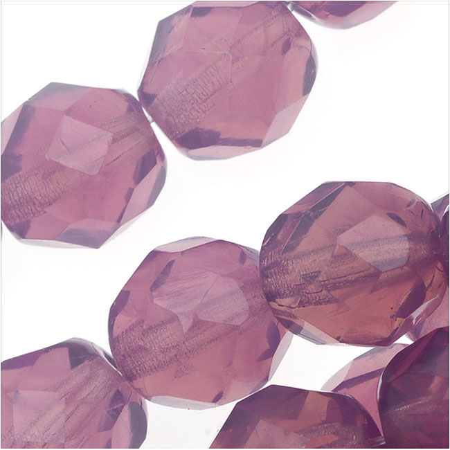 Czech Fire Polished Glass Beads 8mm Round Purple Amethyst Opal (25)