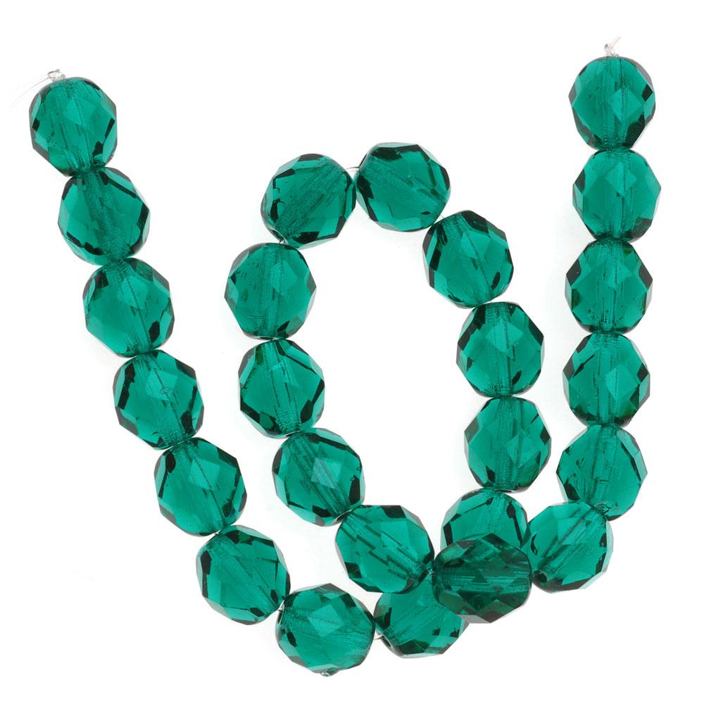 Czech Fire Polished Glass Beads 8mm Round Emerald Green (25)