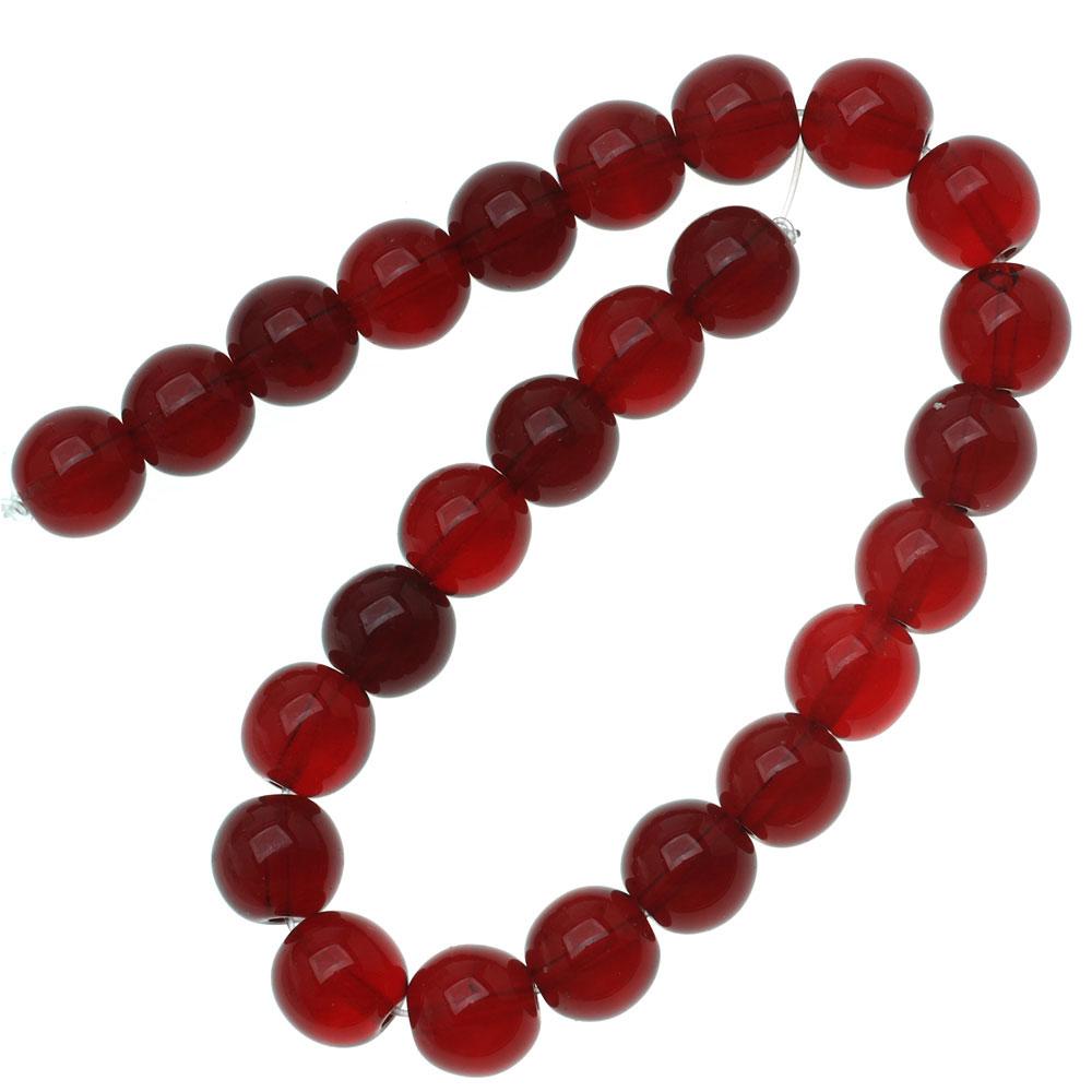 Czech Glass Druk Round Beads 8mm Ruby Red (25)