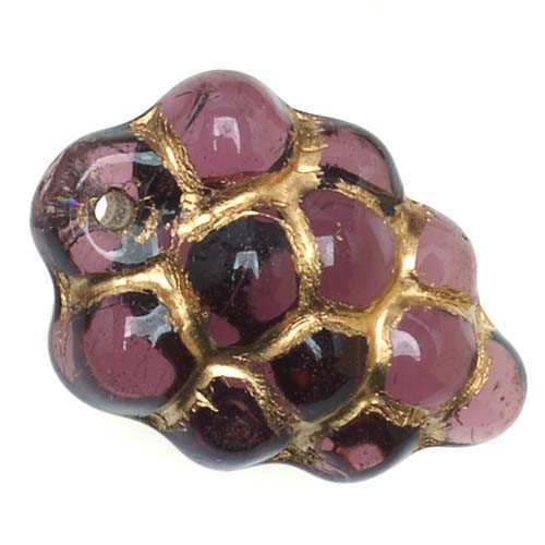 Czech Glass Beads Amethyst Purple & Gold Grapes (12)