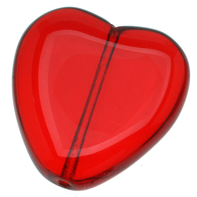 Czech  Glass Big 22mm Heart Pendant Bead Ruby Red (X6)