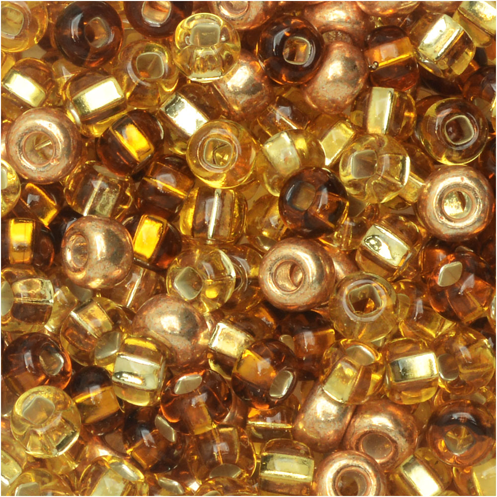 Czech Glass Seed Beads, 6/0 Round, 24 Gram Tube, Royal Topaz Mix