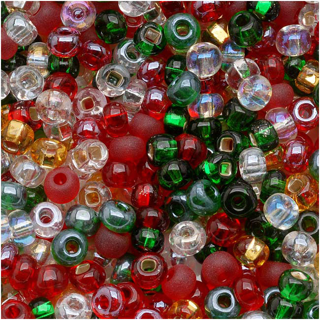 Czech Glass Seed Beads, 6/0 Round, 1 Ounce, Deck The Halls Christmas Mix
