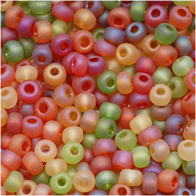 Czech Glass Seed Beads, 6/0 Round, 1 Ounce, Fall Harvest Green & Orange Mix