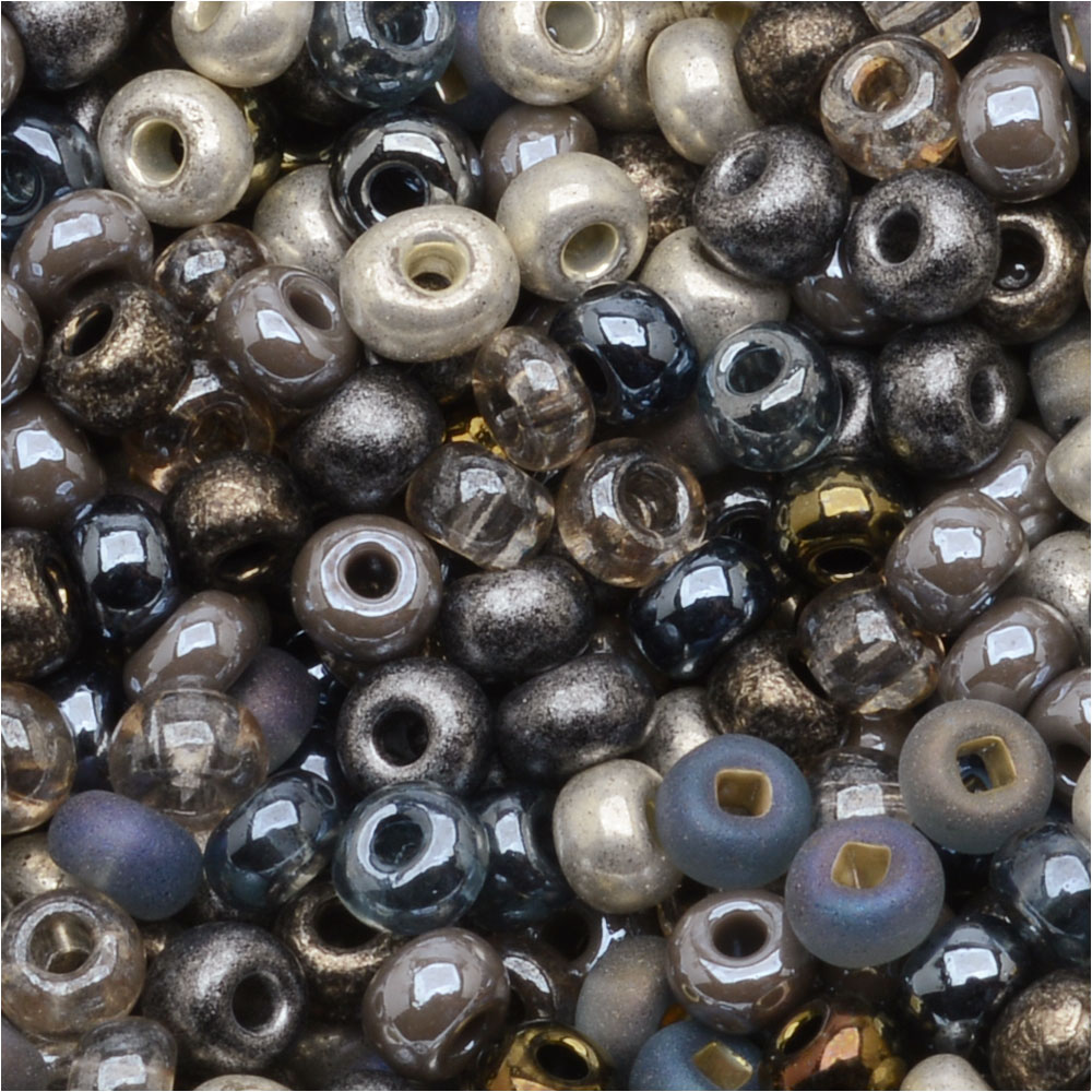 Czech Glass Seed Beads, 6/0 Round, 1 Ounce, Heavy Metals Mix
