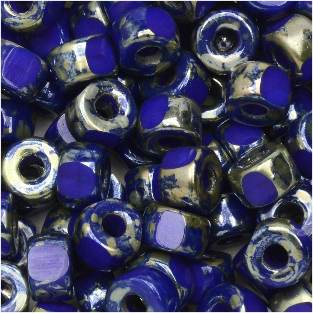 Czech Glass Matubo, Tri-Cut 2/0 Seed Bead, 20 Gram Tube, Opaque Blue Rembrandt