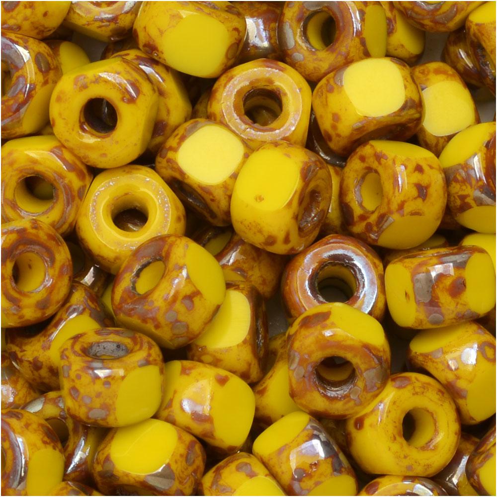 Czech Glass Matubo, Tri-Cut 2/0 Seed Bead, 20 Gram Tube, Lemon Rembrandt