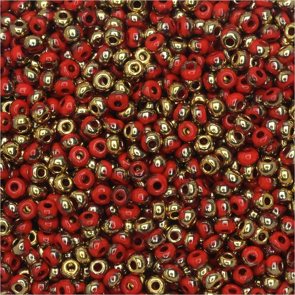 Czech Glass, Bohemian Aged 11/0 Round Seed Beads, 10 Grams, Light Red and Amber