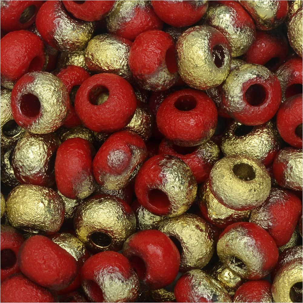 Czech Glass, Bohemian Aged 2/0 Round Seed Beads, 10 Grams, Etched Light Red and Amber