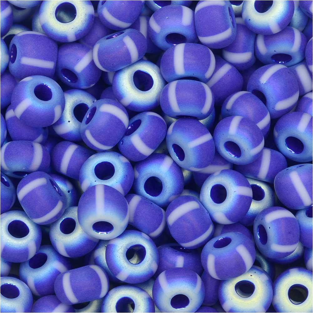 Czech Glass, Bohemian Aged 4/0 Round Seed Beads, 10 Grams, Blue/White Stripes Full AB