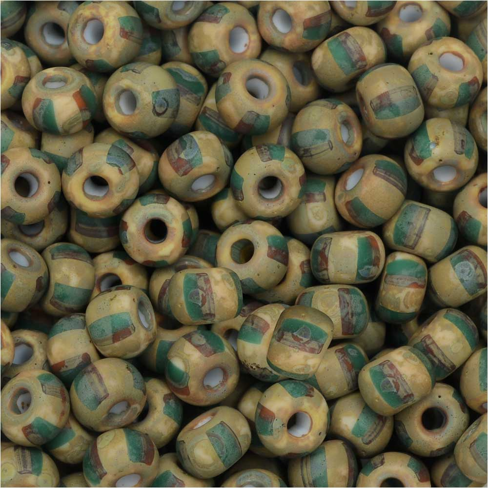 Czech Glass, Bohemian Aged 5/0 Round Seed Beads, 10 Grams, Green/Orange Stripes and Travertine