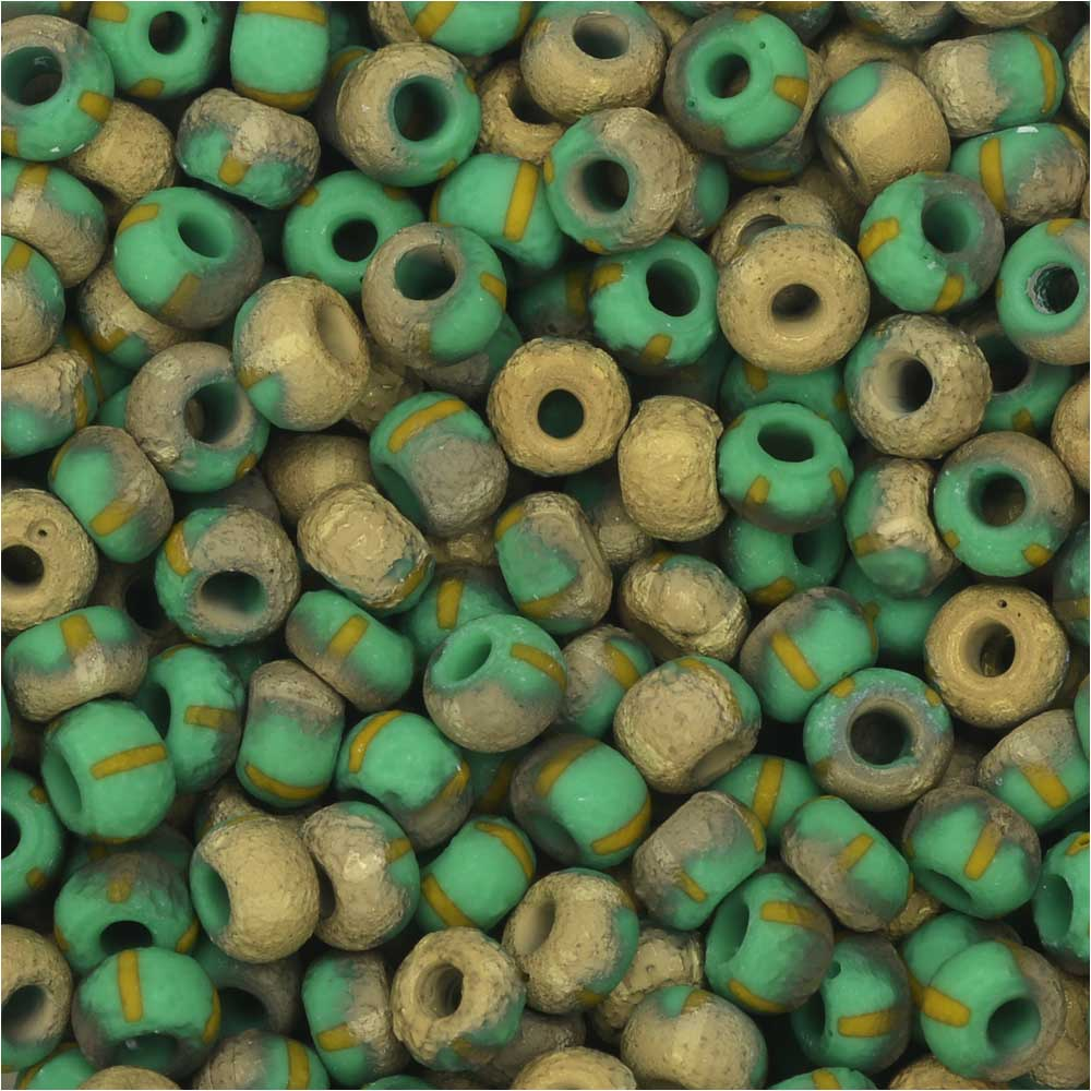 Czech Glass, Bohemian Aged 6/0 Round Seed Beads, 10 Grams, Etched Green/Yellow Stripes and Amber