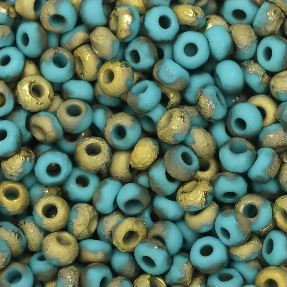 Czech Glass, Bohemian Aged 6/0 Round Seed Beads, 10 Grams, Etched Blue Turquoise and Amber
