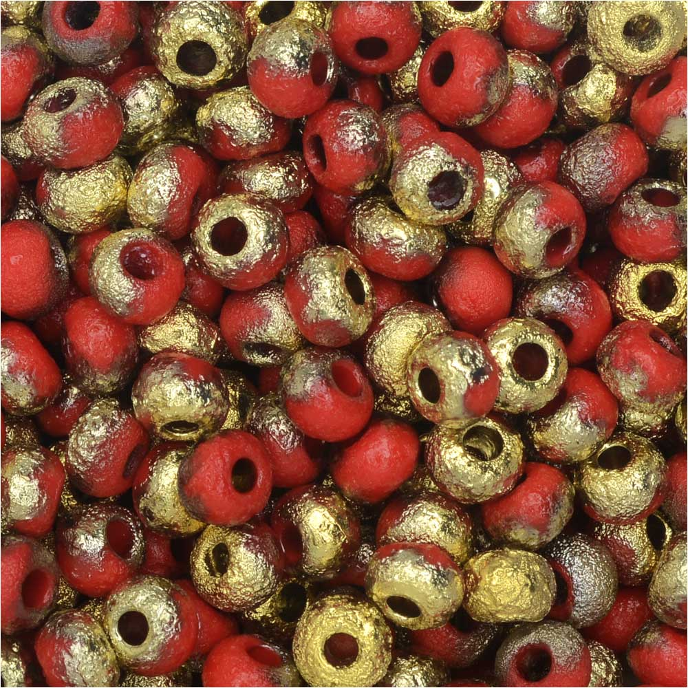 Czech Glass, Bohemian Aged 6/0 Round Seed Beads, 10 Grams, Etched Light Red and Amber