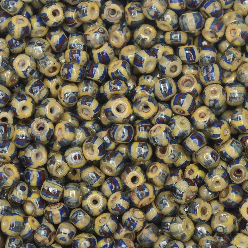 Czech Glass, Bohemian Aged 8/0 Round Seed Beads, 10 Grams, Red/White/Blue and Picasso