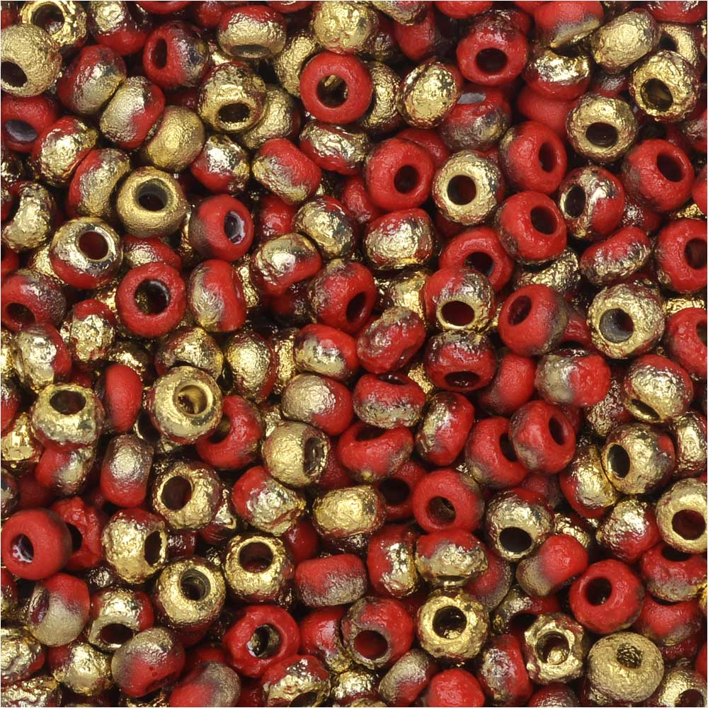 Czech Glass, Bohemian Aged 8/0 Round Seed Beads, 10 Grams, Etched Red and Amber
