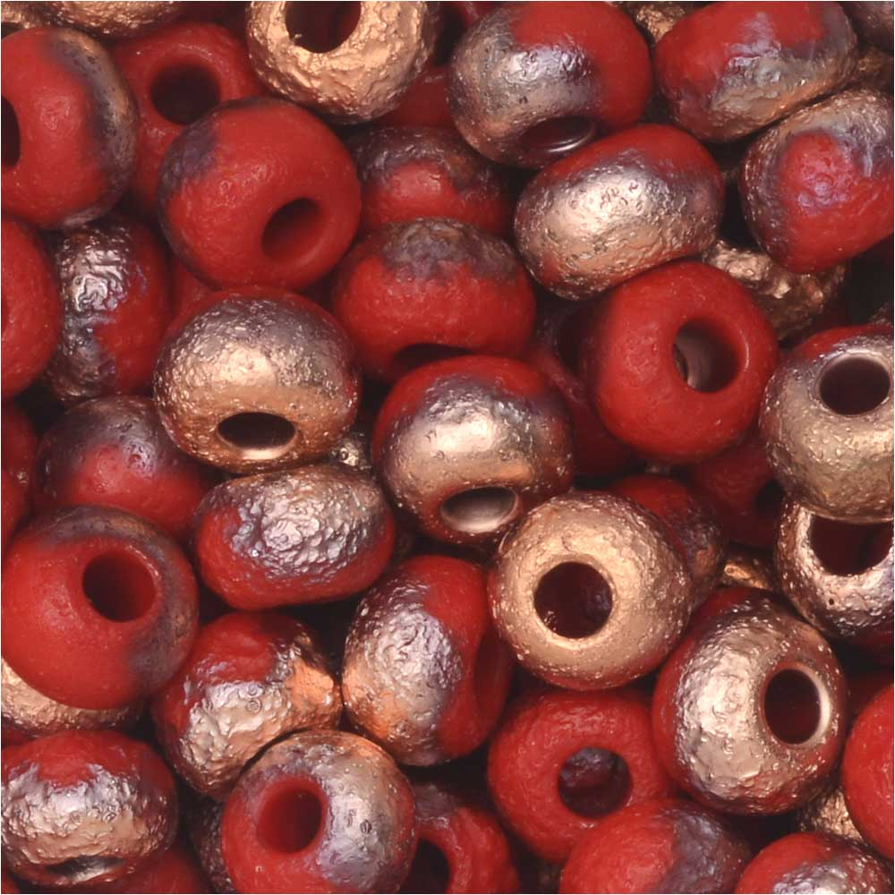 Czech Glass, Bohemian Aged 2/0 Round Seed Beads, 10 Grams, Etched Light Red and Capri