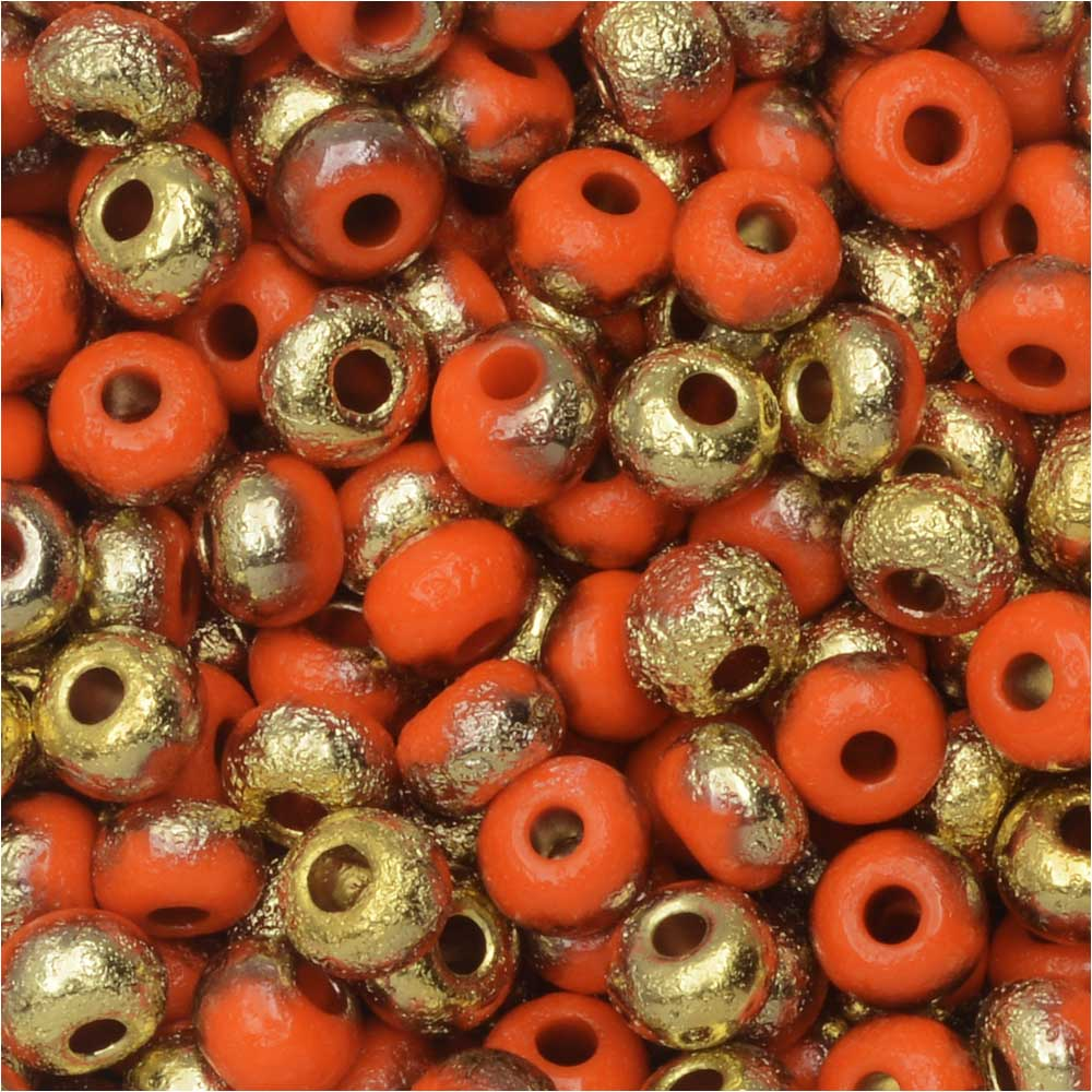 Czech Glass, Bohemian Aged 6/0 Round Seed Beads, 10 Grams, Etched Orange and Amber