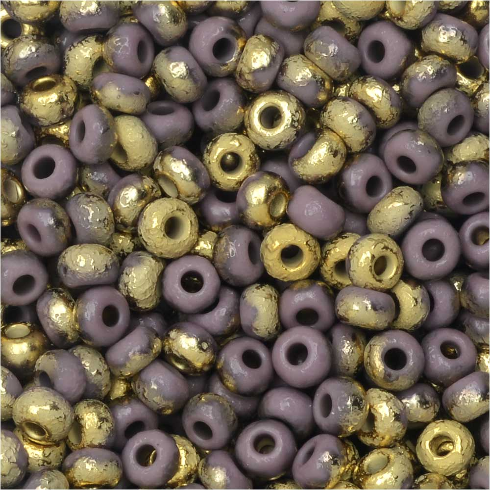 Czech Glass, Bohemian Aged 8/0 Round Seed Beads, 10 Grams, Etched Violet and Amber