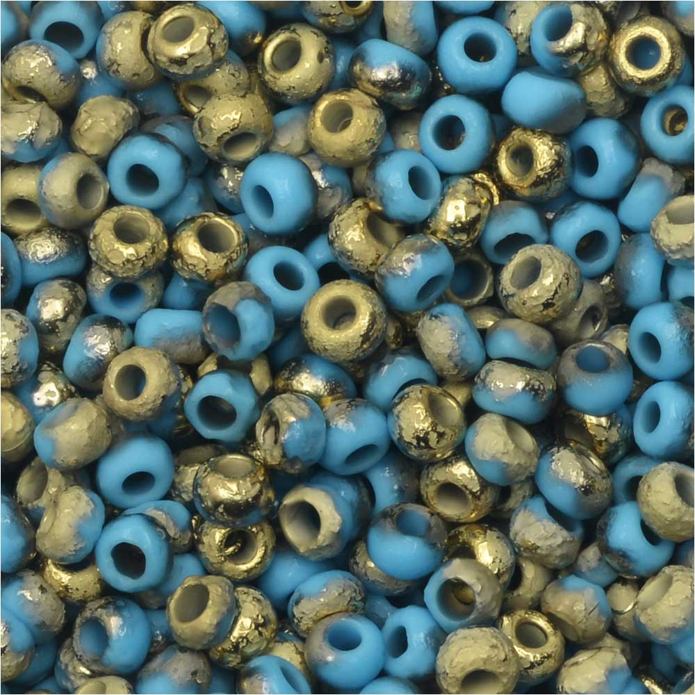 Czech Glass, Bohemian Aged 8/0 Round Seed Beads, 10 Grams, Etched Blue Turquoise and Amber