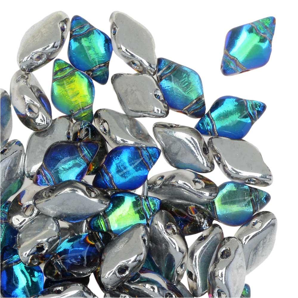 Czech Glass GemDuo, 2-Hole Diamond Shaped Beads 8x5mm, 8 Grams, Backlit Petrol