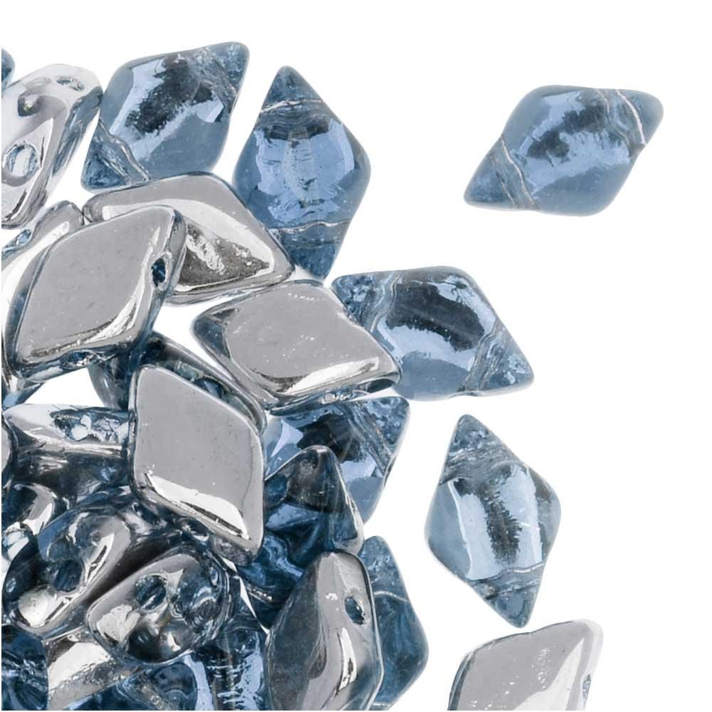 Blue Metallic Suede 40 8 x 5 mm Czech Glass Gemduo Beads