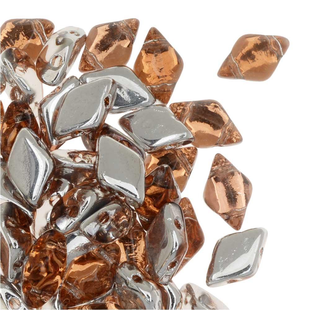 Czech Glass GemDuo, 2-Hole Diamond Shaped Beads 8x5mm, 8 Grams, Backlit Peach
