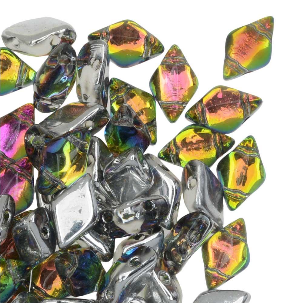 Czech Glass GemDuo, 2-Hole Diamond Shaped Beads 8x5mm, 8 Grams, Backlit Utopia