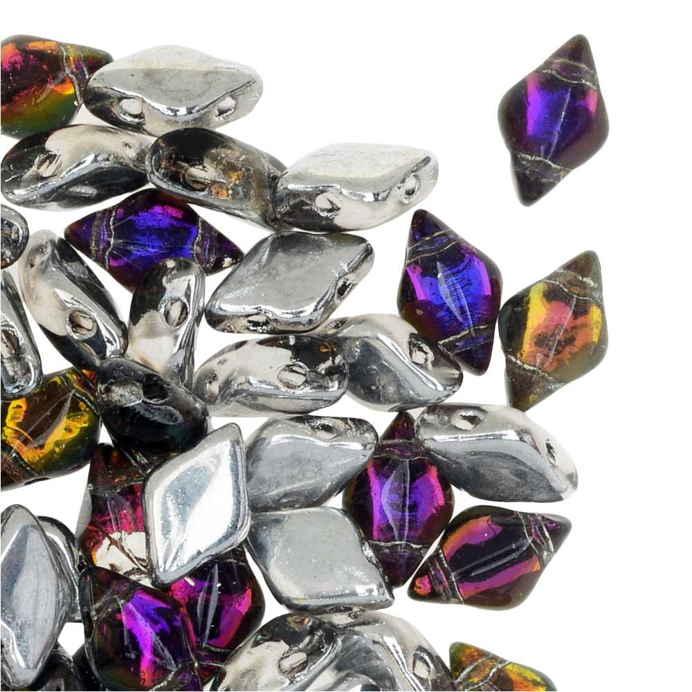 Czech Glass GemDuo, 2-Hole Diamond Shaped Beads 8x5mm, 8 Grams, Backlit Purple Haze
