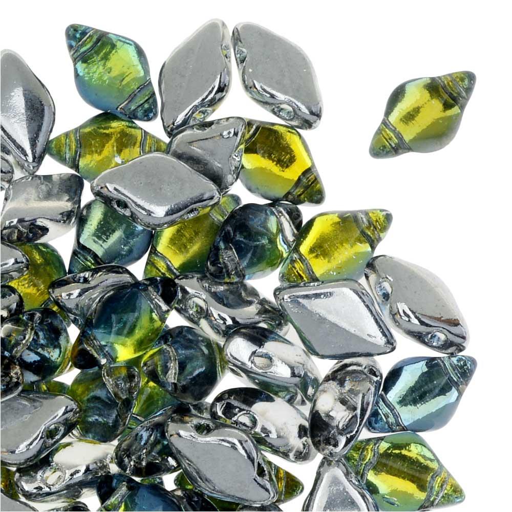 Czech Glass GemDuo, 2-Hole Diamond Shaped Beads 8x5mm, 8 Grams, Backlit Uranium