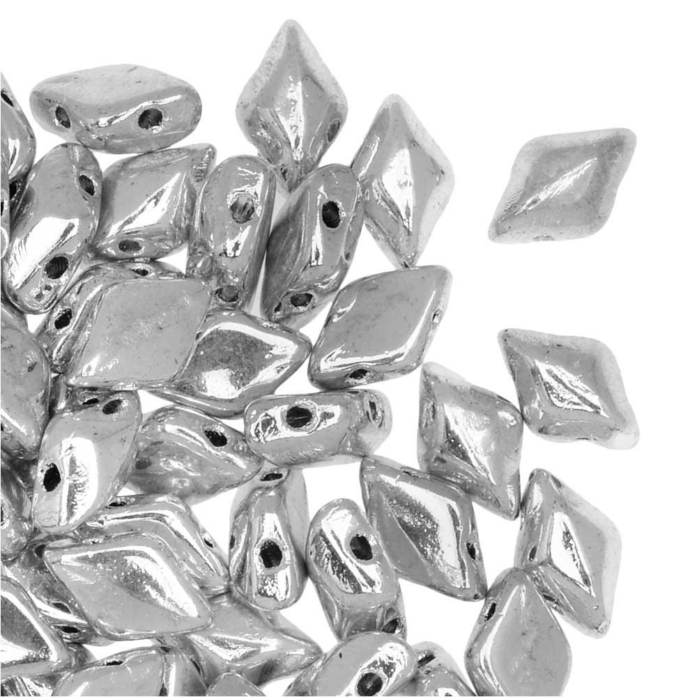 Czech Glass GemDuo, 2-Hole Diamond Shaped Beads 8x5mm, 8 Grams, Full Labrador