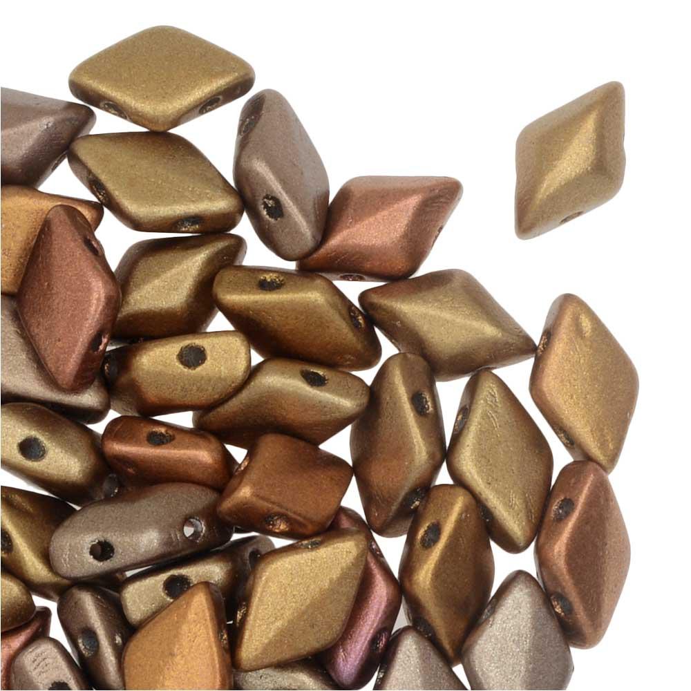 Czech Glass GemDuo, 2-Hole Diamond Shaped Beads 8x5mm, 8 Grams, Gold Rainbow