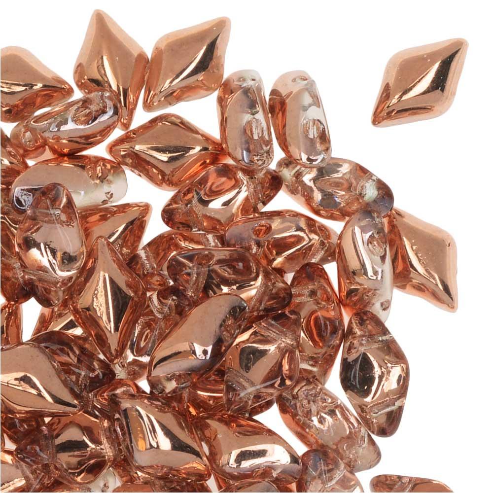 Czech Glass GemDuo, 2-Hole Diamond Shaped Beads 8x5mm, 8 Grams, Crystal Capri