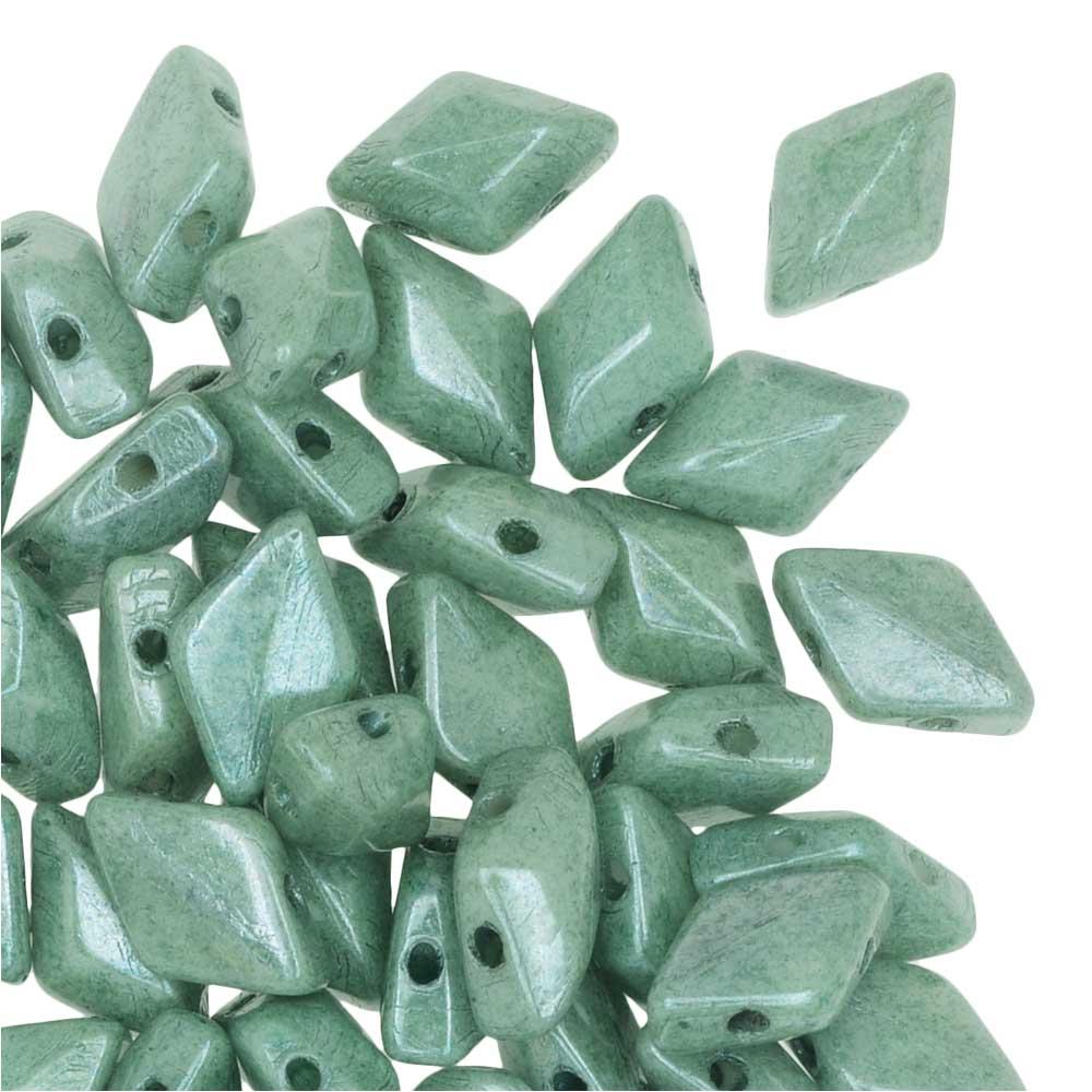 Czech Glass GemDuo, 2-Hole Diamond Shaped Beads 8x5mm, 8 Grams, Chalk Green Luster