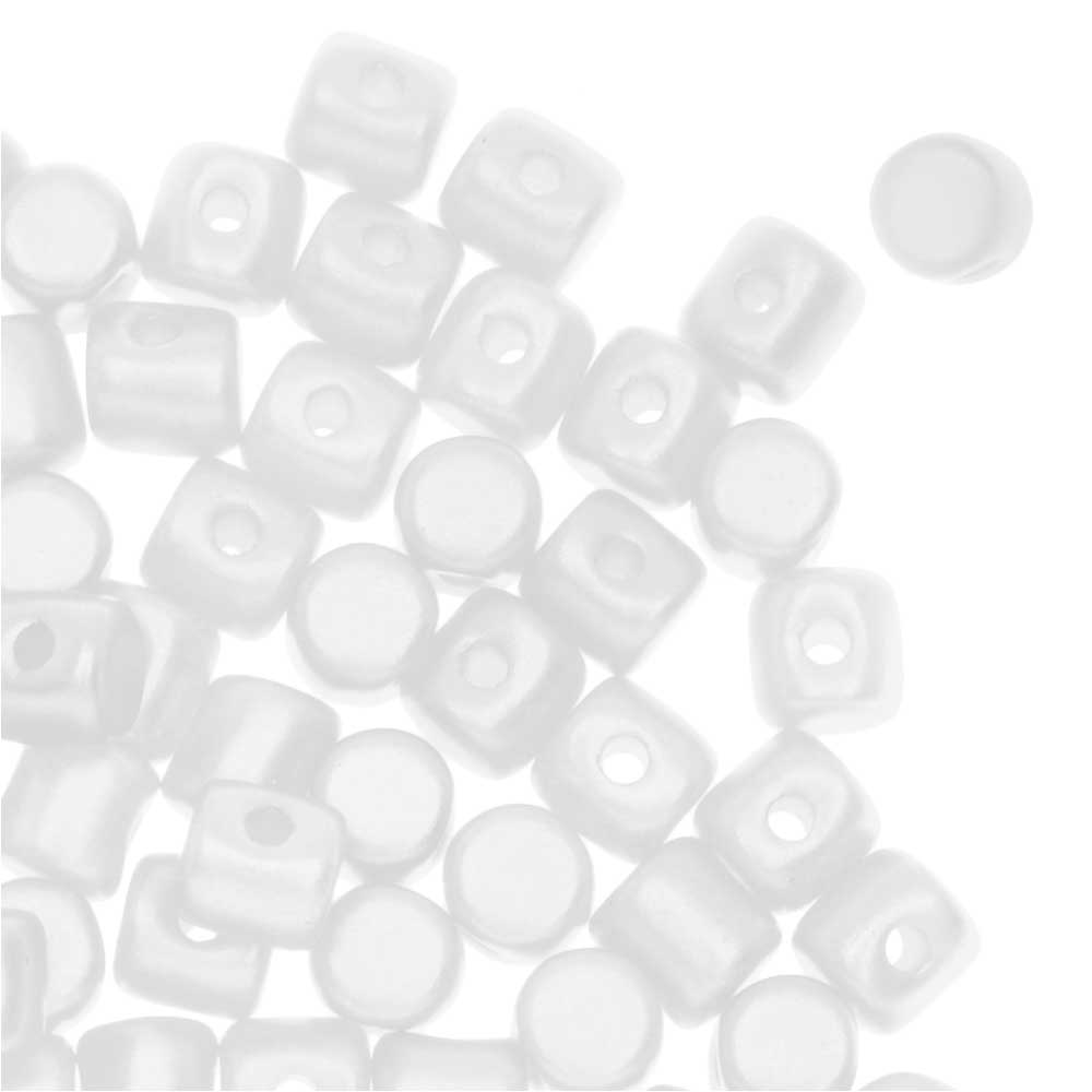 Czech Glass Minos par Puca, Cylindrical Beads 2.5x3mm, 120 Pieces, Pastel White