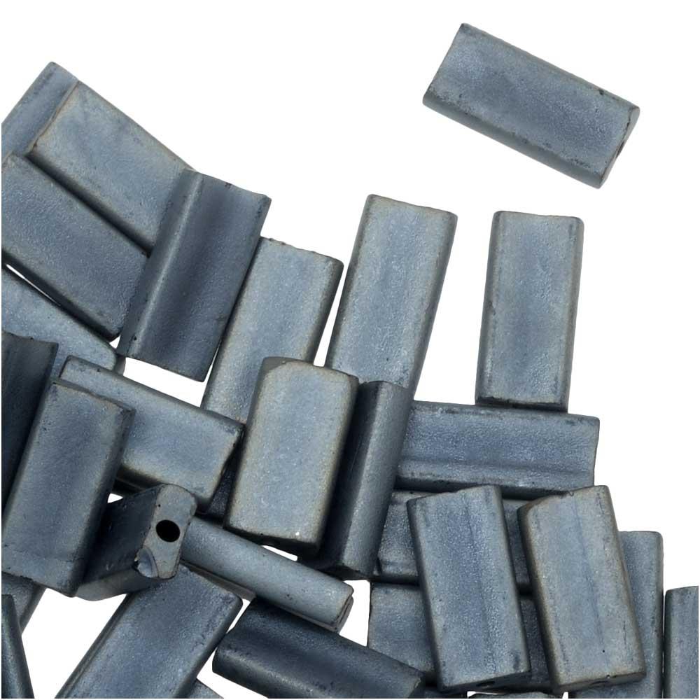 Miyuki Glass Beads, Rectangle 4x9mm, 10 Grams, Matte Metallic Silver Grey